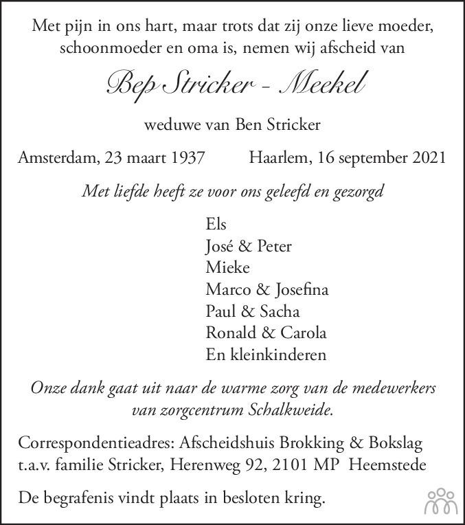 Overlijdensbericht van Elisabeth Petronella Antonia Maria (Bep) Stricker - Meekel in Haarlems Dagblad Kombinatie