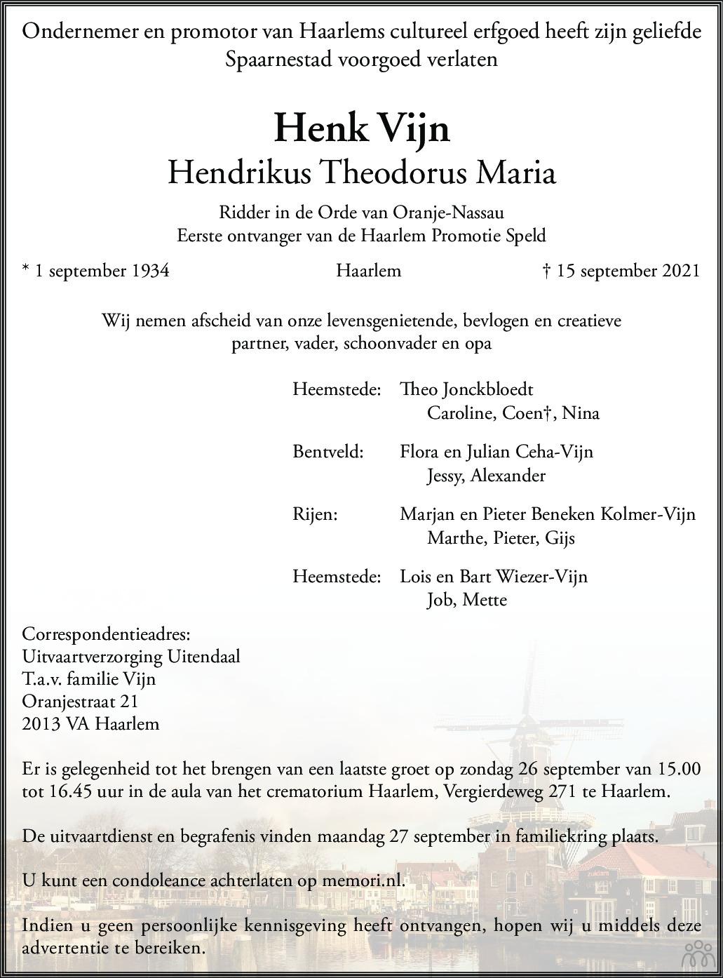 Overlijdensbericht van Henk (Hendrikus Theodorus Maria) Vijn in Haarlems Dagblad Kombinatie