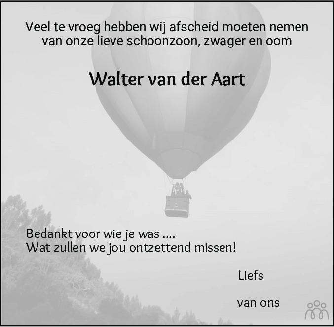 Overlijdensbericht van Walter van der Aart in Alkmaarsche Courant