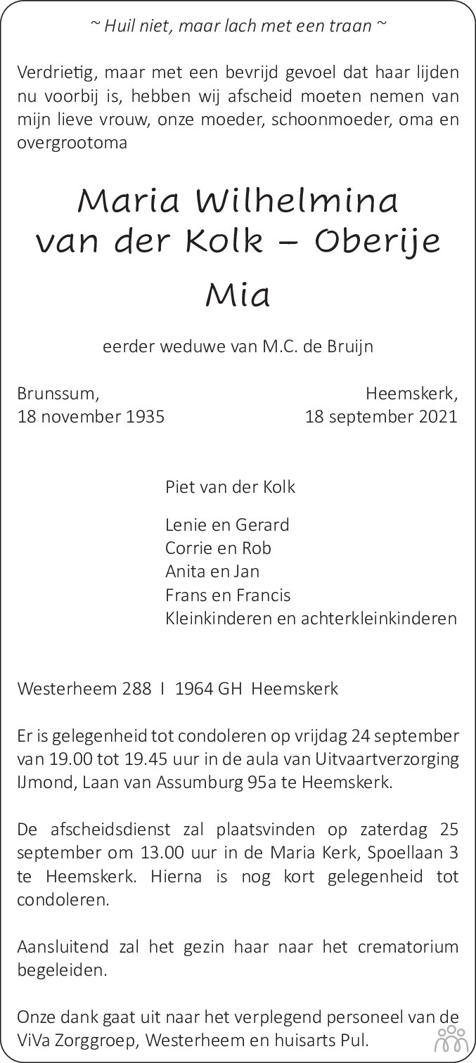 Overlijdensbericht van Maria Wilhelmina (Mia) van der Kolk-Oberije in Dagblad Kennemerland