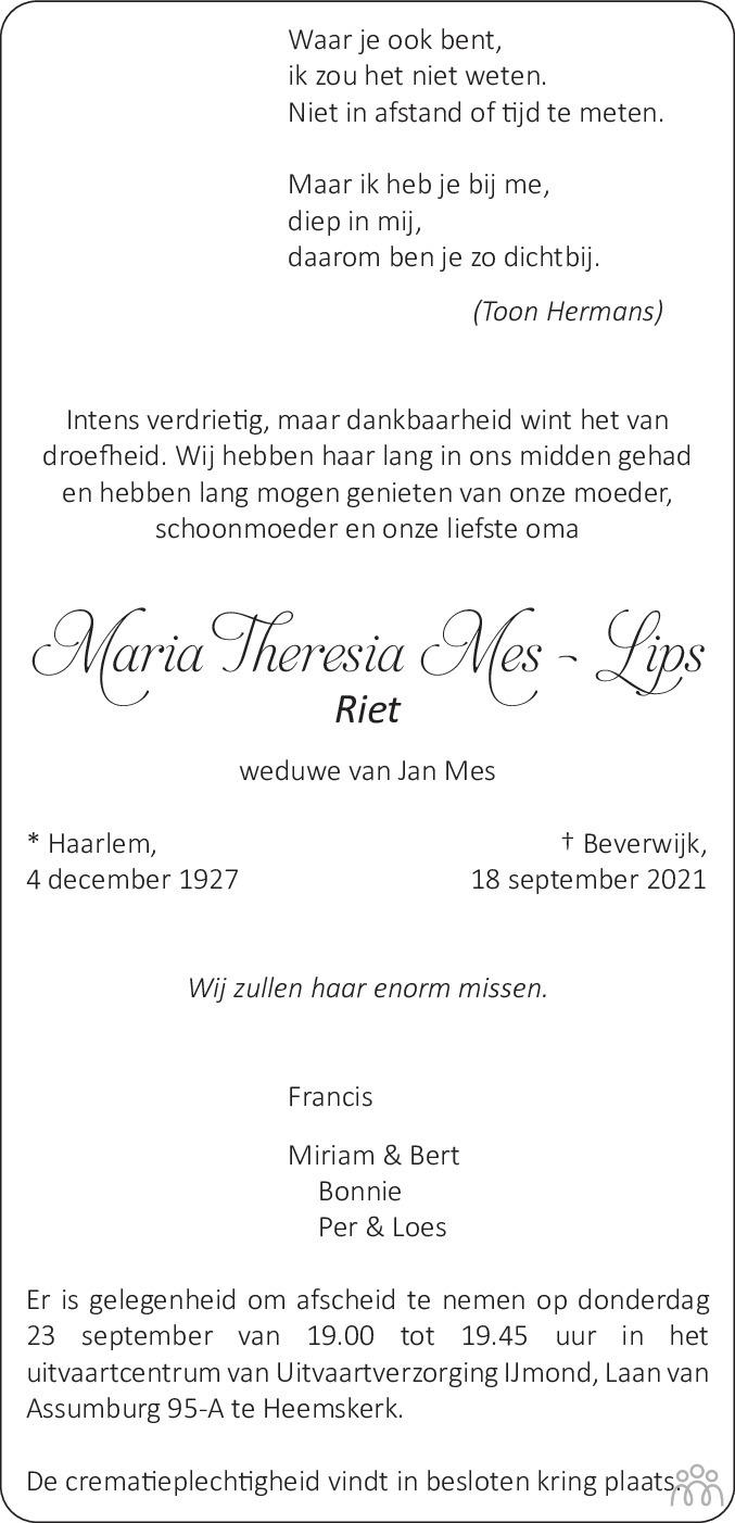 Overlijdensbericht van Maria Theresia (Riet) Mes-Lips in Dagblad Kennemerland
