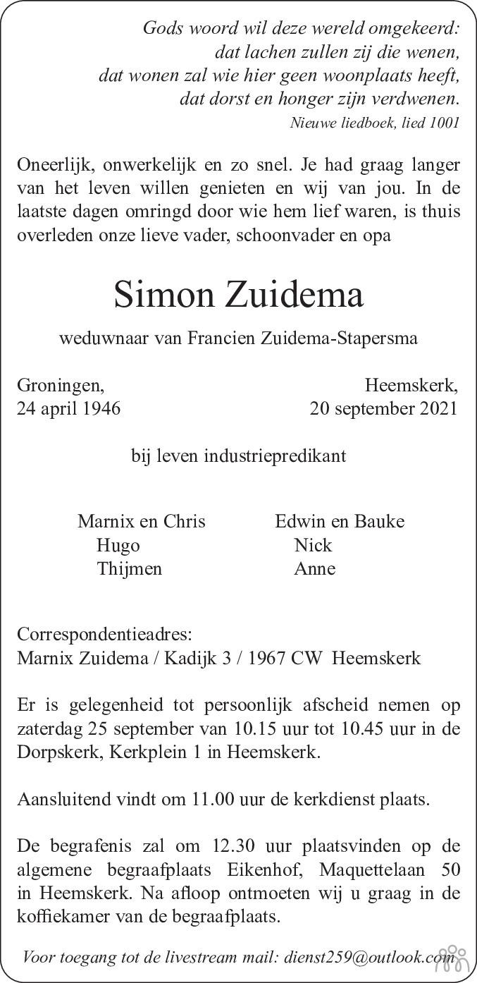 Overlijdensbericht van Simon Zuidema in Dagblad Kennemerland