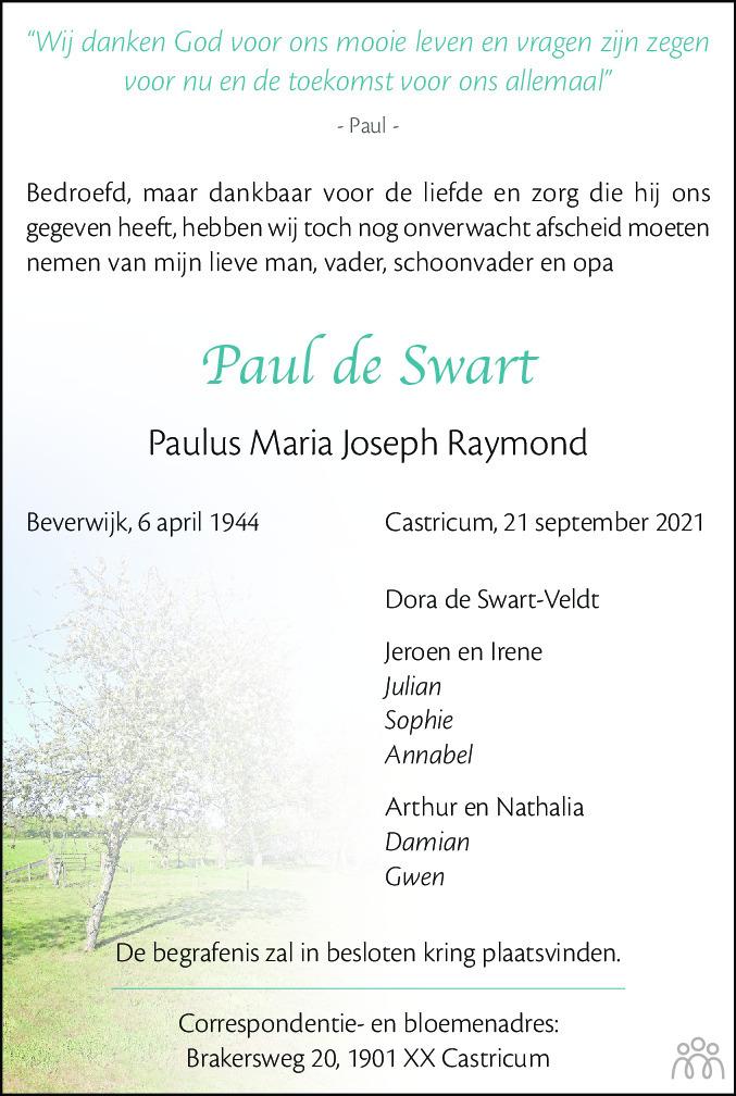 Overlijdensbericht van Paul (Paulus Maria Joseph Raymond) de Swart in Alkmaarsche Courant