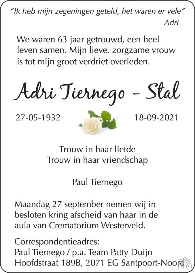 Overlijdensbericht van Adri Tiernego-Stal in Haarlems Dagblad Kombinatie