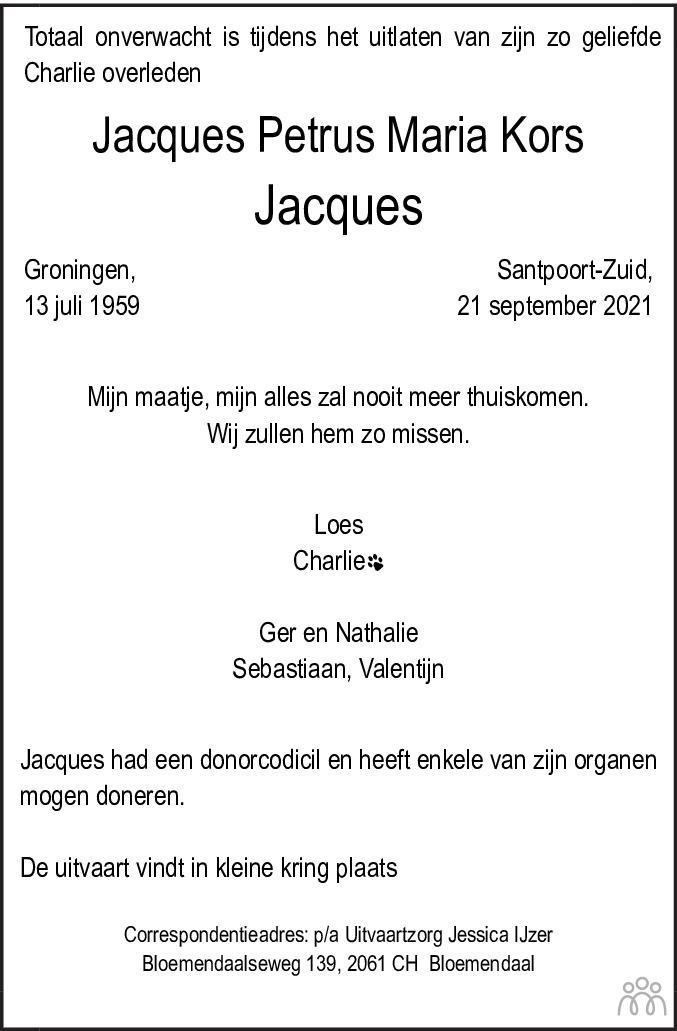 Overlijdensbericht van Jacques Petrus Maria (Jacques) Kors in Haarlems Dagblad Kombinatie