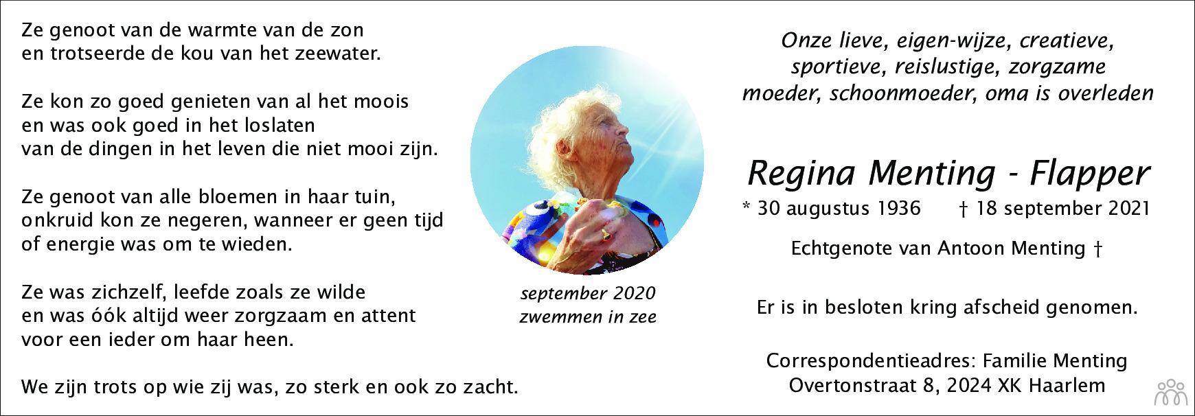 Overlijdensbericht van Regina Menting-Flapper in Haarlems Dagblad Kombinatie
