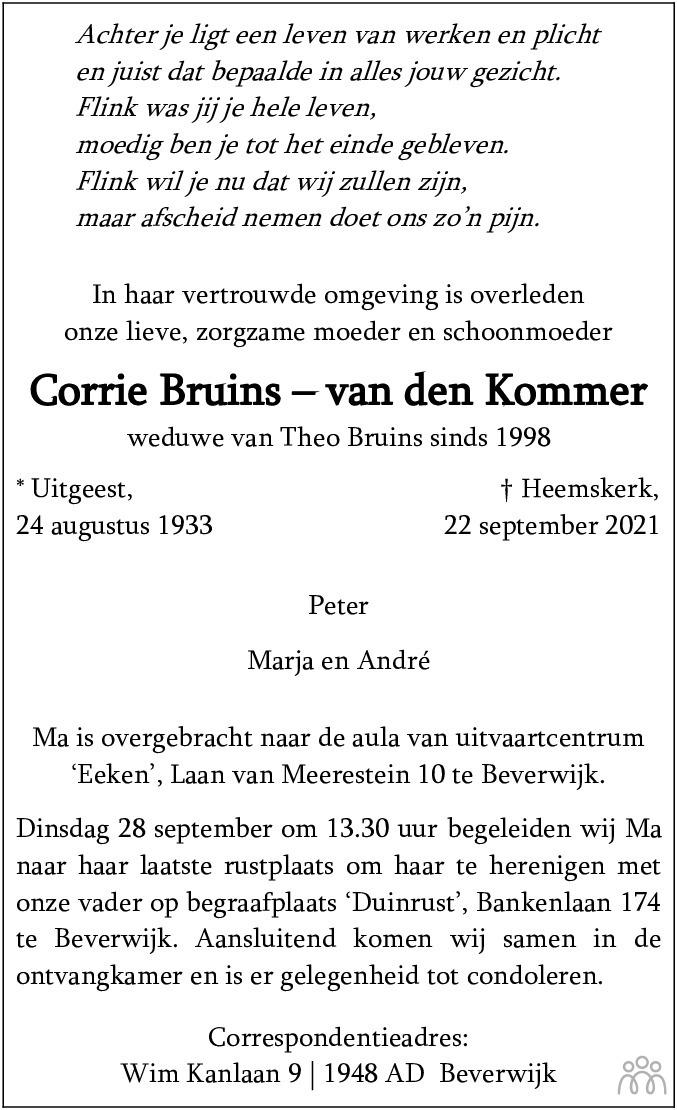 Overlijdensbericht van Corrie Bruins-van den Kommer in Dagblad Kennemerland