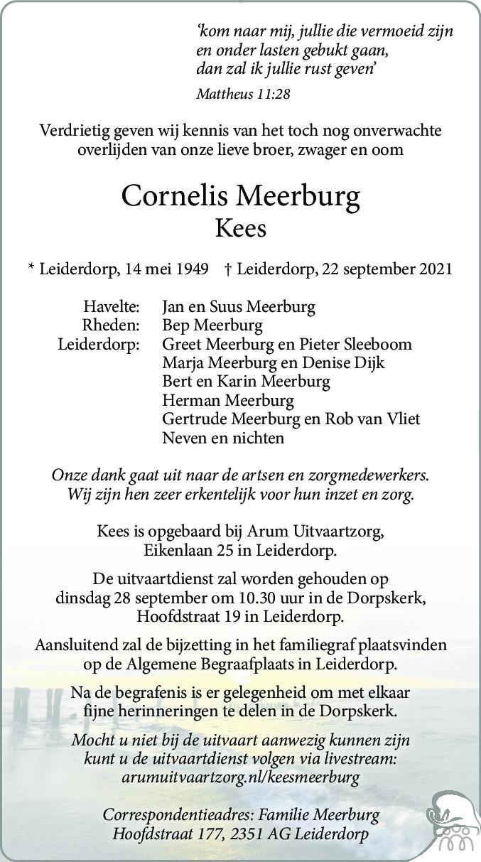 Overlijdensbericht van Cornelis (Kees) Meerburg in Leidsch Dagblad