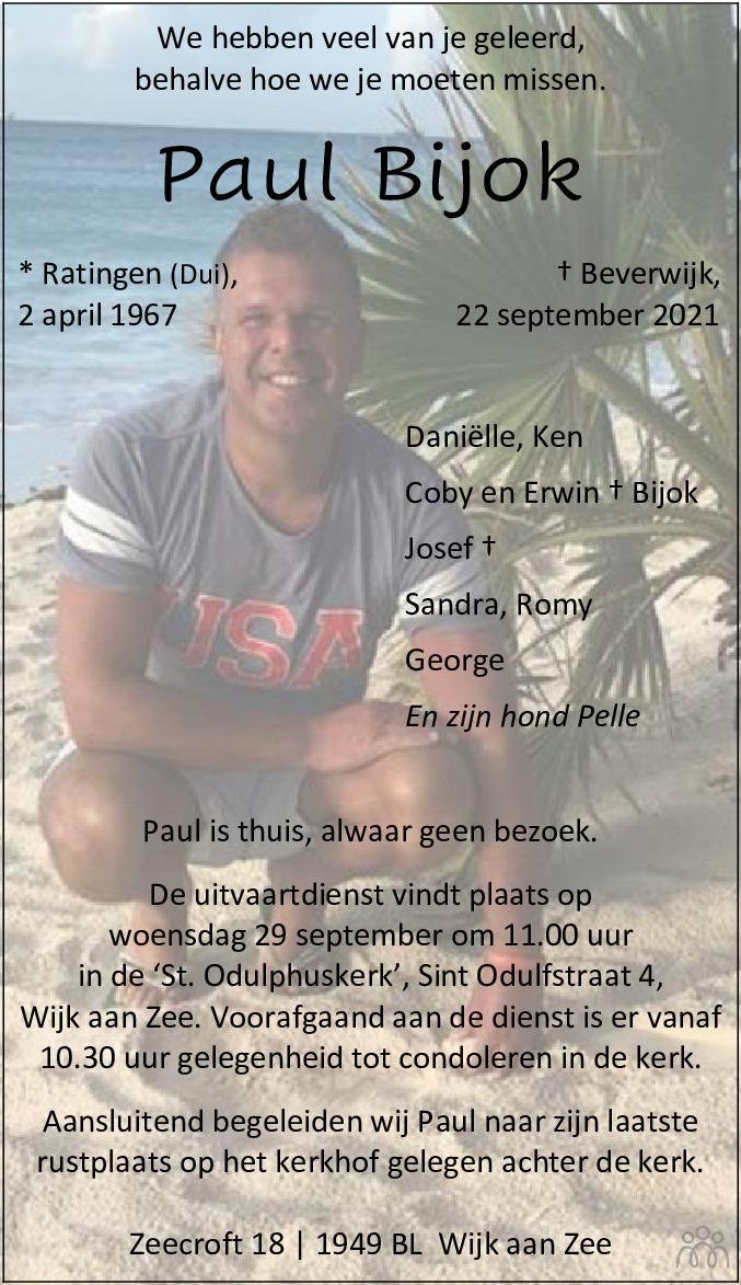 Overlijdensbericht van Paul Bijok in Dagblad Kennemerland
