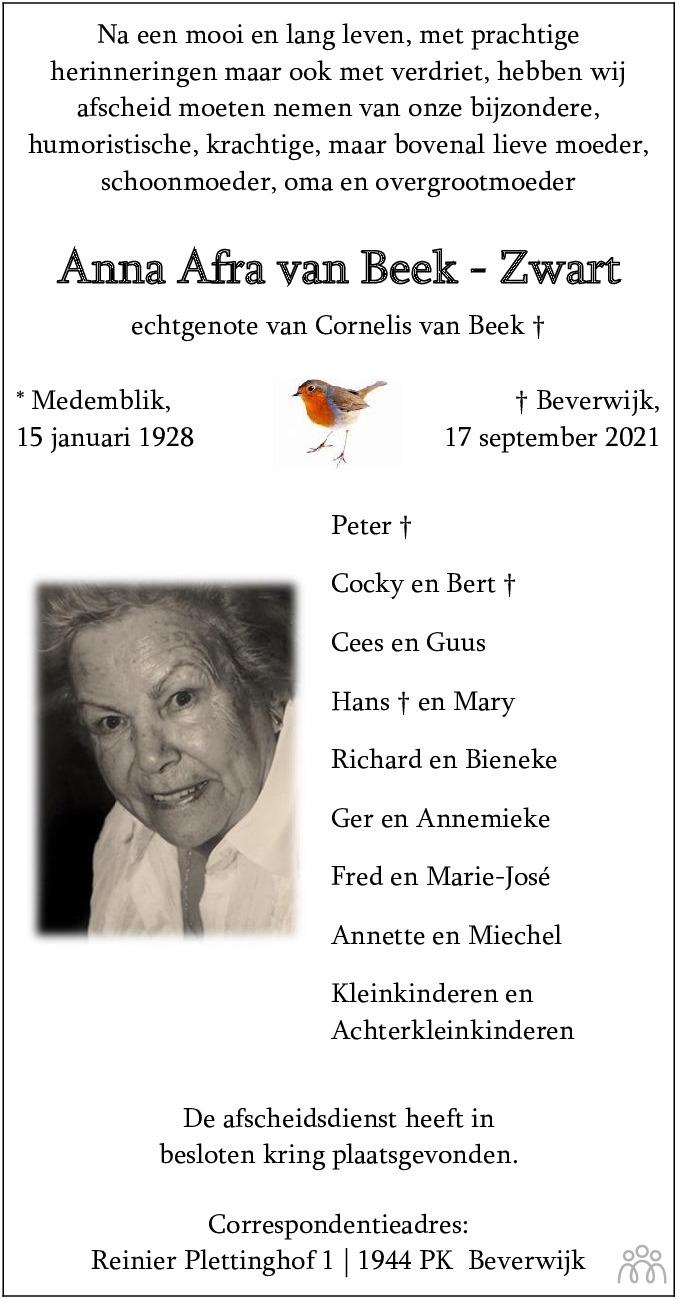 Overlijdensbericht van Anna Afra van Beek-Zwart in Dagblad Kennemerland
