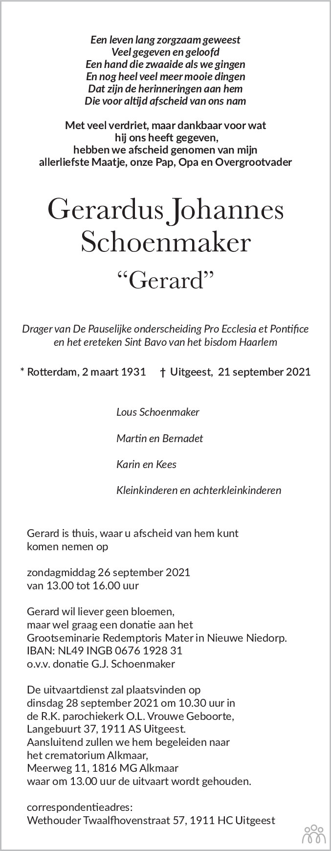 Overlijdensbericht van Gerardus Johannes (Gerard) Schoenmaker in Dagblad Kennemerland