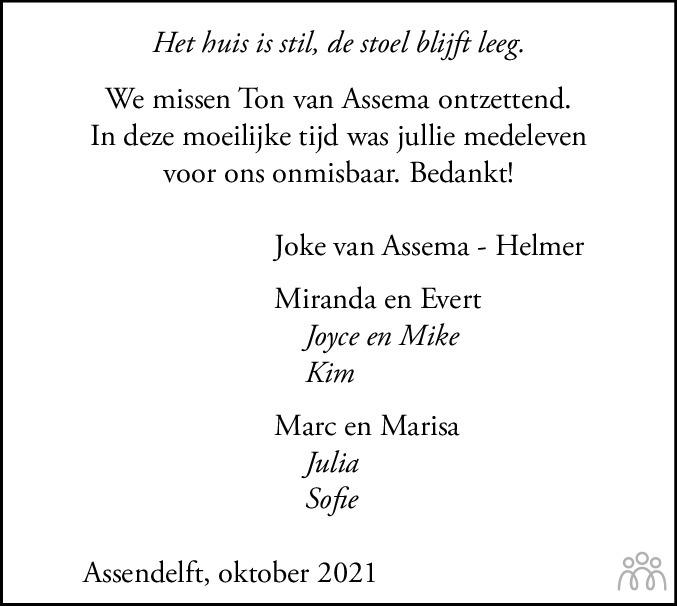 Overlijdensbericht van Ton. van Assema in Dagblad Zaanstreek