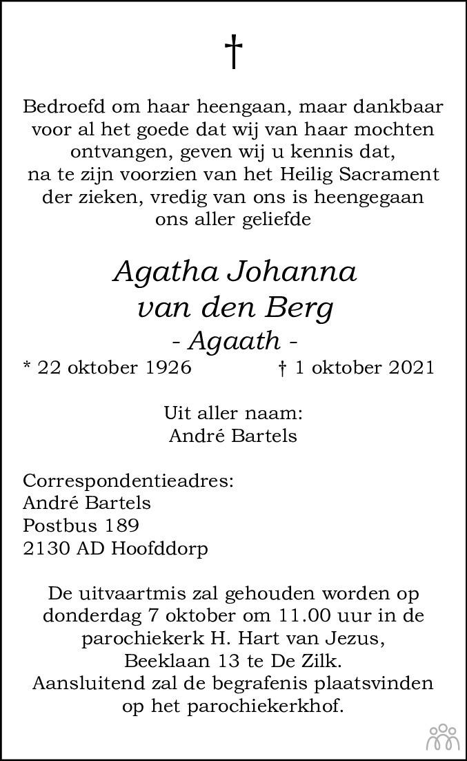 Overlijdensbericht van Agatha Johanna (Agaath) van den Berg in Leidsch Dagblad