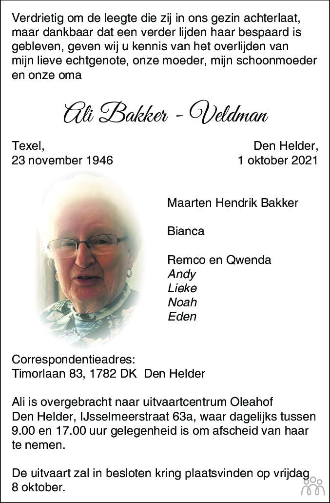 Overlijdensbericht van Ali Bakker-Veldman in Schagen / Den Helder