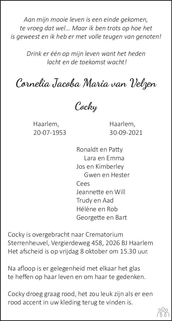 Overlijdensbericht van Cornelia Jacoba Maria (Cocky) van Velzen in Haarlems Dagblad Kombinatie