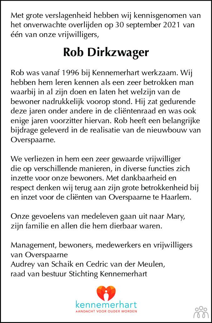 Overlijdensbericht van Rob Dirkzwager in Haarlems Dagblad Kombinatie