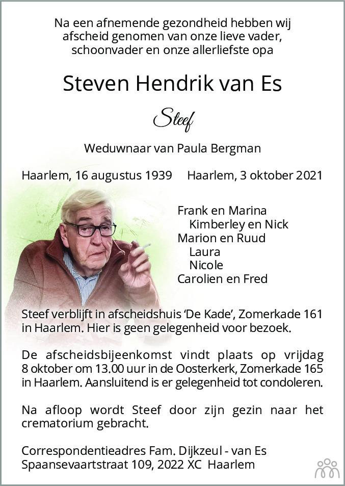 Overlijdensbericht van Steven Hendrik (Steef) van Es in Haarlems Dagblad Kombinatie
