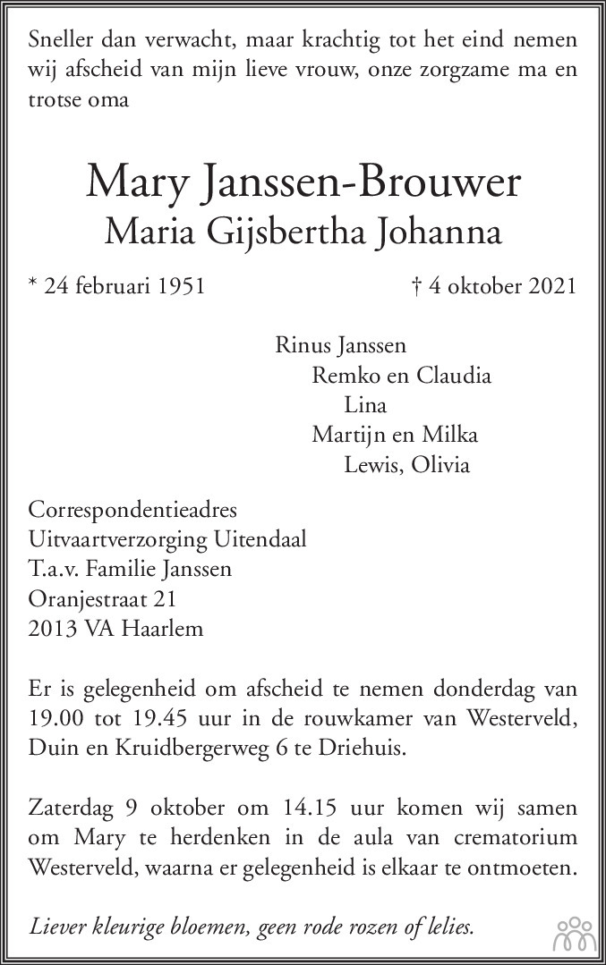 Overlijdensbericht van Mary (Maria Gijsbertha Johanna) Janssen-Brouwer in Haarlems Dagblad Kombinatie