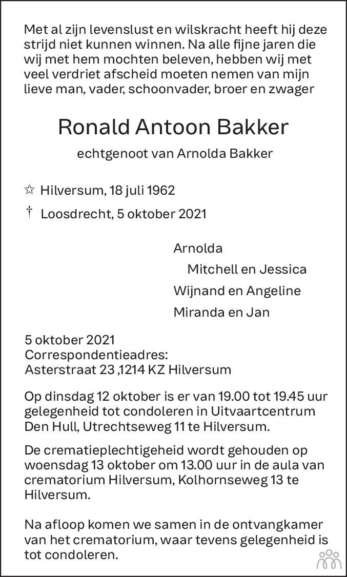 Overlijdensbericht van Ronald Antoon Bakker in De Gooi- en Eemlander