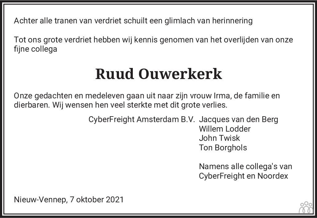Overlijdensbericht van Ruud Ouwerkerk in Haarlems Dagblad Kombinatie