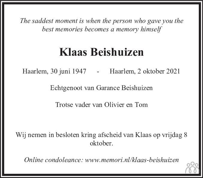 Overlijdensbericht van Klaas Beishuizen in Haarlems Dagblad Kombinatie
