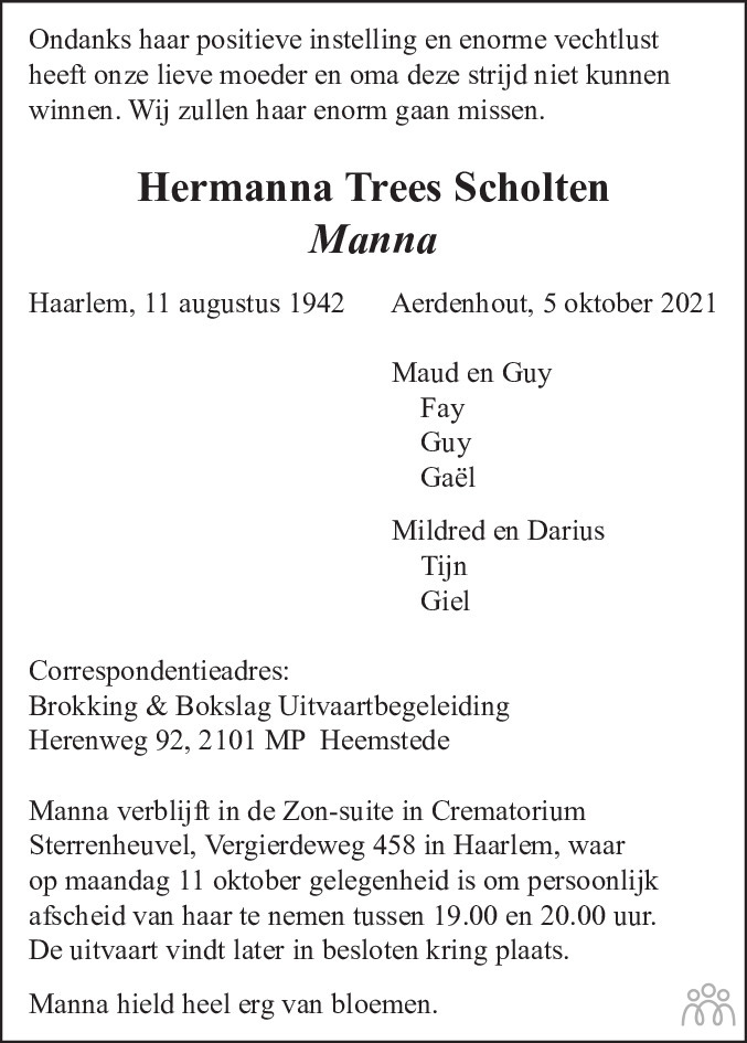 Overlijdensbericht van Hermanna Trees (Manna) Scholten in Haarlems Dagblad Kombinatie