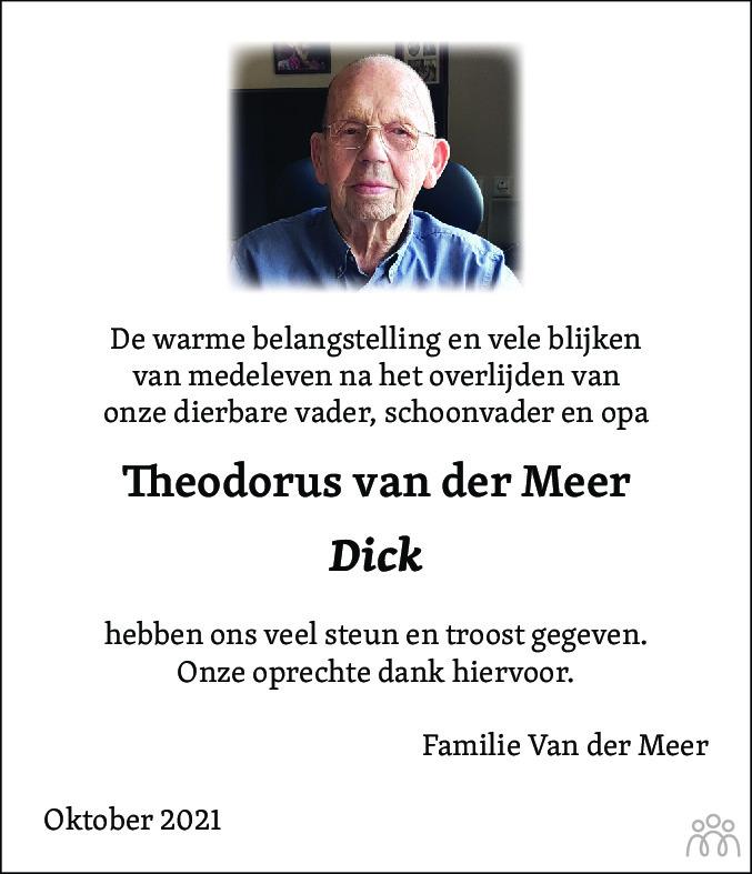 Overlijdensbericht van Theodorus (Dick) van der Meer in Alkmaarsche Courant