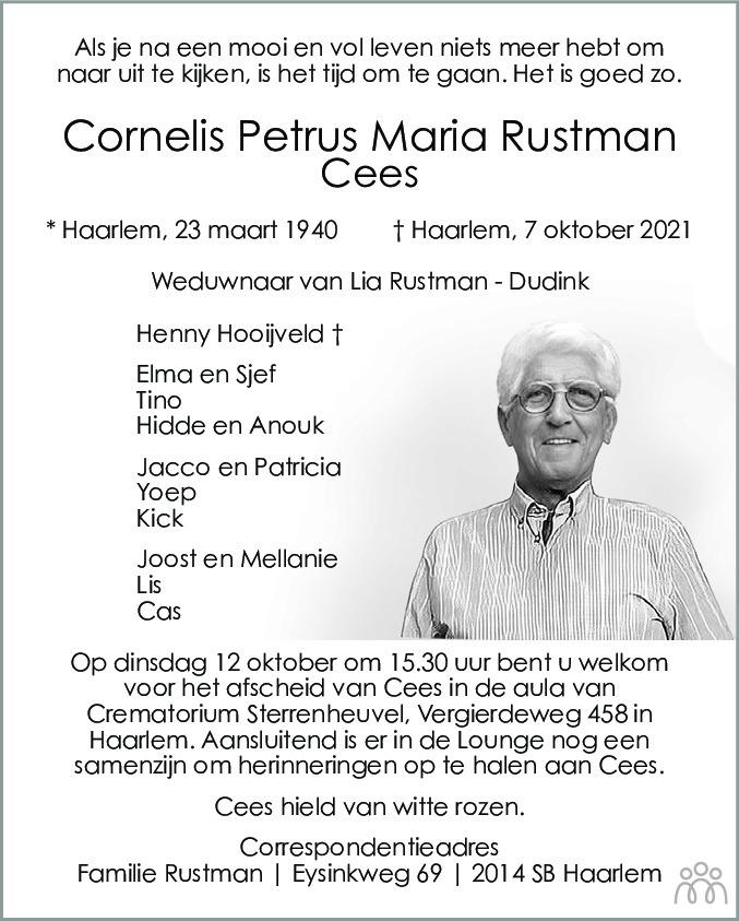 Overlijdensbericht van Cornelis Petrus Maria (Cees) Rustman in Haarlems Dagblad Kombinatie