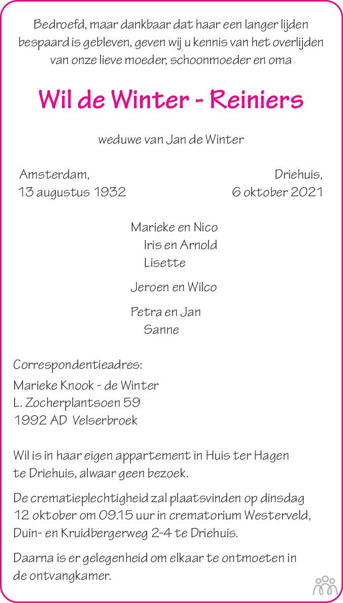Overlijdensbericht van Wil de Winter-Reiniers in Haarlems Dagblad Kombinatie