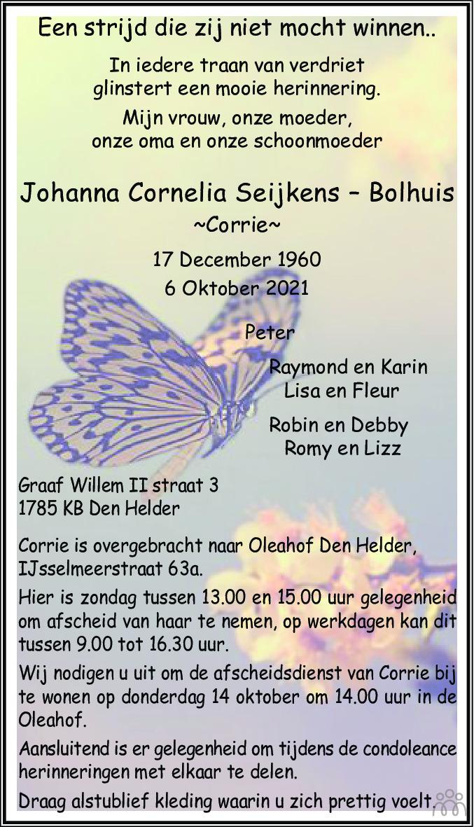 Overlijdensbericht van Johanna Cornelia (Corrie) Seijkens-Bolhuis in Schagen / Den Helder
