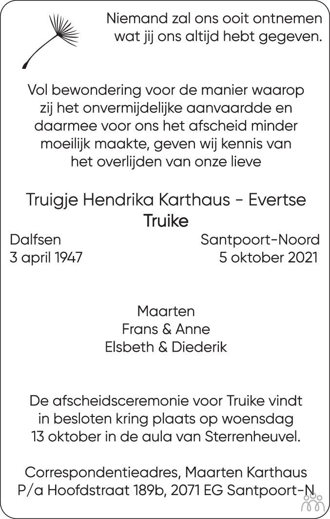Overlijdensbericht van Truigje Hendrika (Truike) Karthaus-Evertse in Haarlems Dagblad Kombinatie