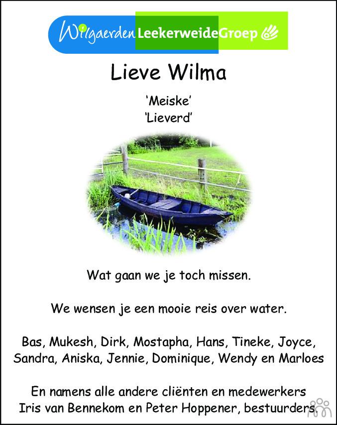 Overlijdensbericht van Wilhelmina Maria Beerepoot-Thomas in Dagblad voor West-Friesland