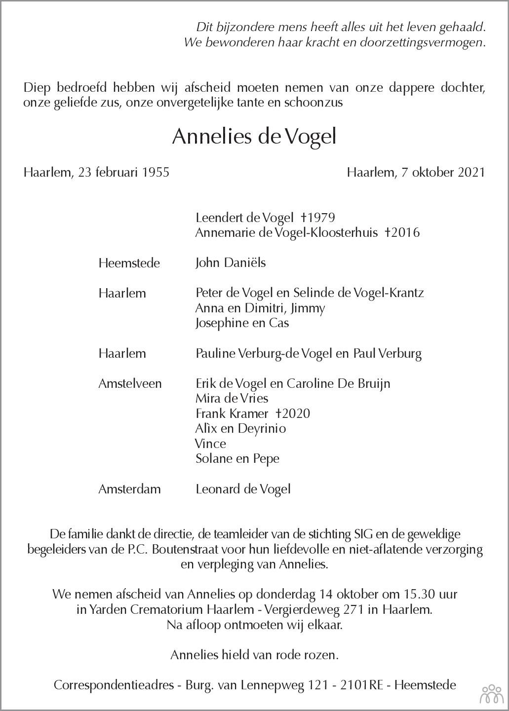 Overlijdensbericht van Annelies de Vogel in Haarlems Dagblad Kombinatie
