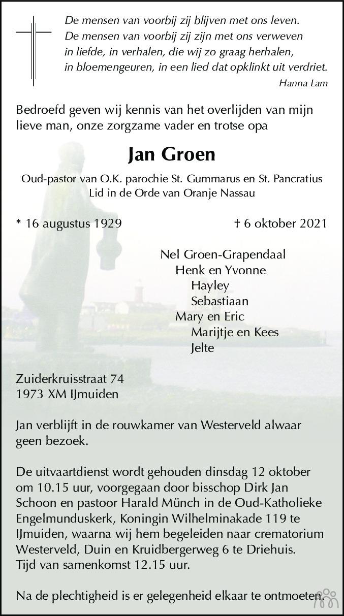Overlijdensbericht van Jan Groen in Haarlems Dagblad Kombinatie