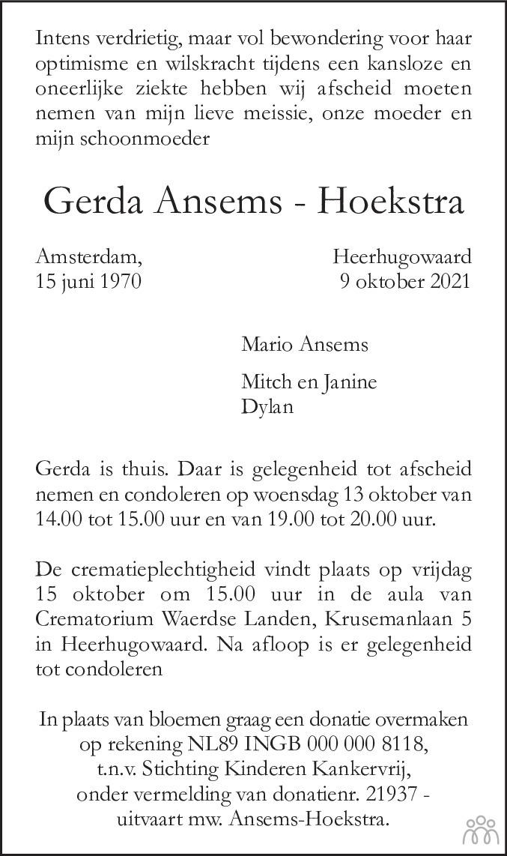 Overlijdensbericht van Gerda Ansems-Hoekstra in Alkmaarsche Courant