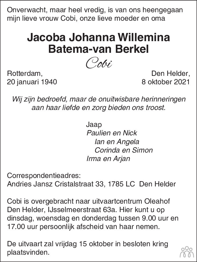 Overlijdensbericht van Jacoba Johanna Willemina (Cobi) Batema-van Berkel in Schagen / Den Helder