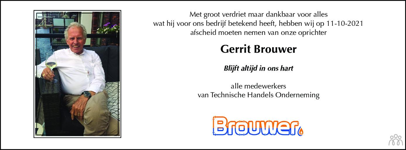 Overlijdensbericht van Gerrit Brouwer in Dagblad voor West-Friesland
