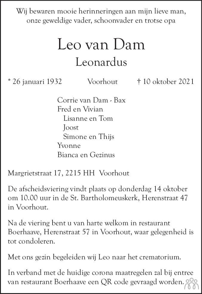 Overlijdensbericht van Leo van Dam in Leidsch Dagblad