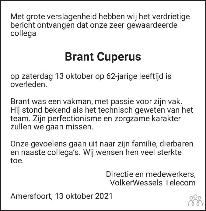 Overlijdensbericht van Brant Cuperus in Alkmaarsche Courant