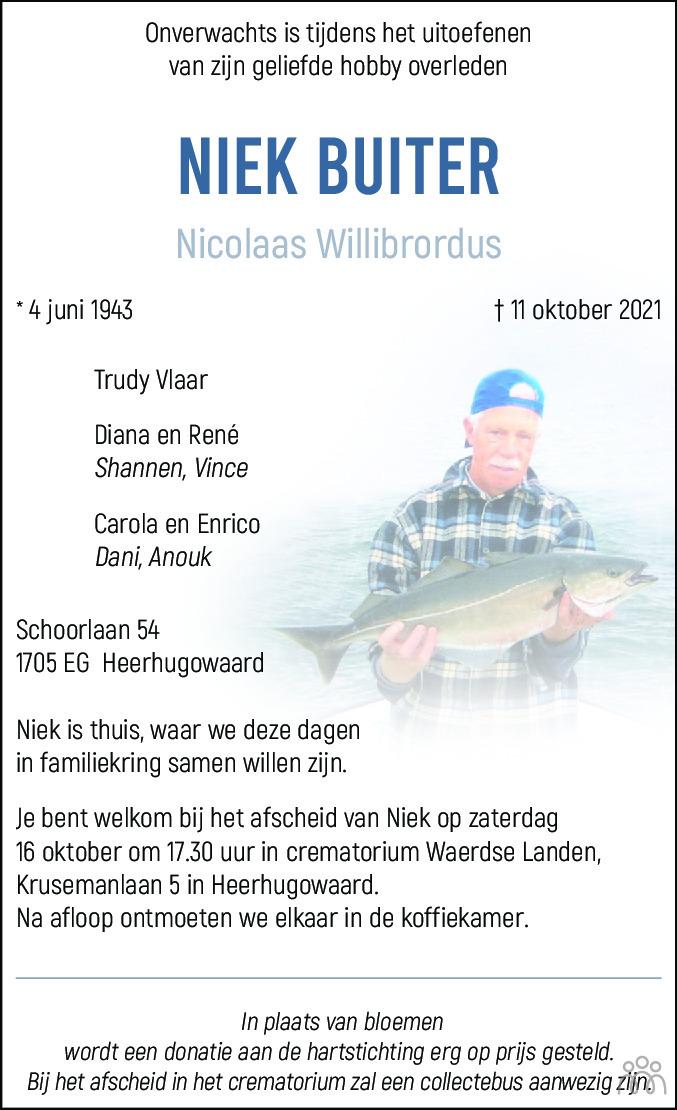 Overlijdensbericht van Niek (Nicolaas Willibrordus) Buiter in Alkmaarsche Courant