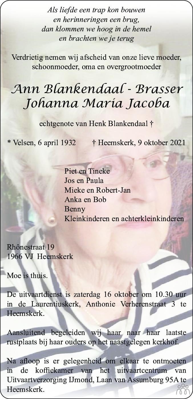 Overlijdensbericht van Ann (Johanna Maria Jacoba) Blankendaal-Brasser in Dagblad Kennemerland