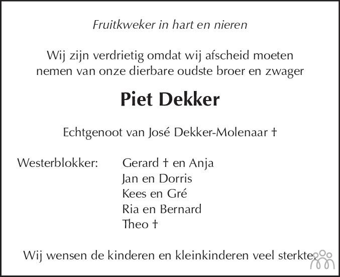 Overlijdensbericht van Piet Dekker in Dagblad voor West-Friesland