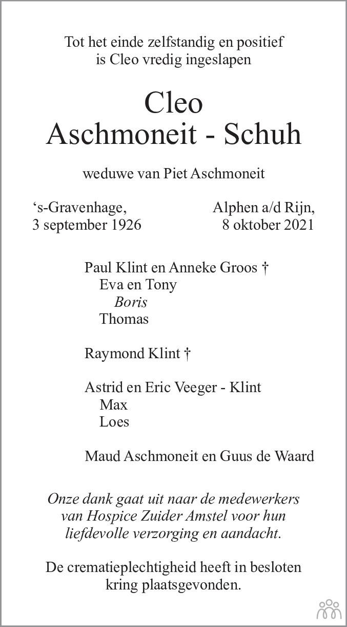 Overlijdensbericht van Cleo Aschmoneit-Schuh in de Telegraaf