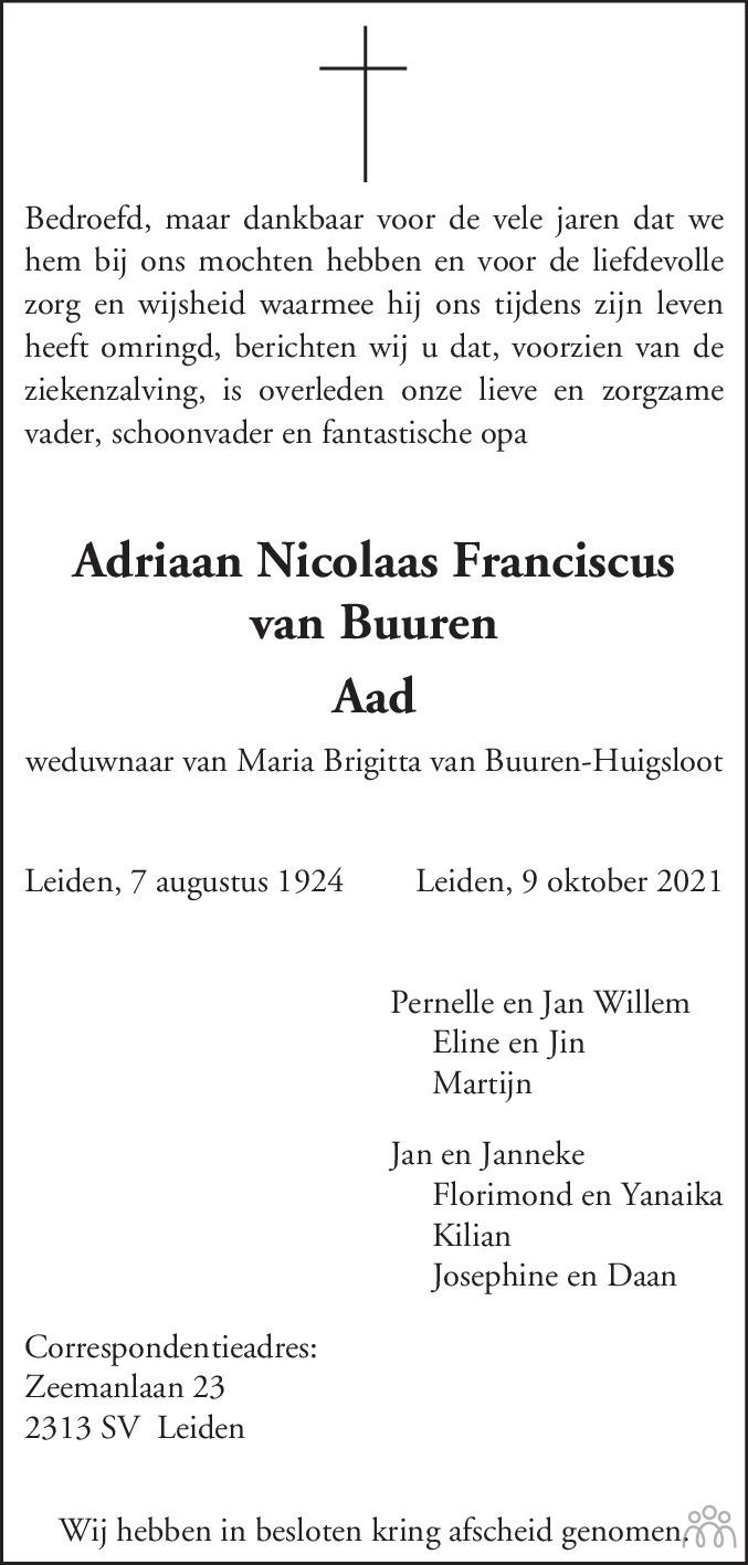 Overlijdensbericht van Adriaan Nicolaas Franciscus (Aad) van Buuren in Leidsch Dagblad