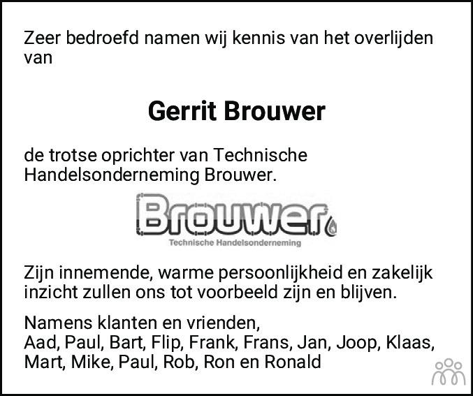 Overlijdensbericht van Gerrit Brouwer in Alkmaarsche Courant