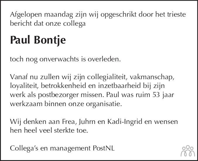 Overlijdensbericht van Paulus Petrus Jacobus (Paul) Bontje in Schagen / Den Helder