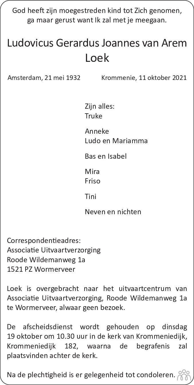 Overlijdensbericht van Ludovicus Gerardus Joannes van Arem-Loek in Dagblad Zaanstreek
