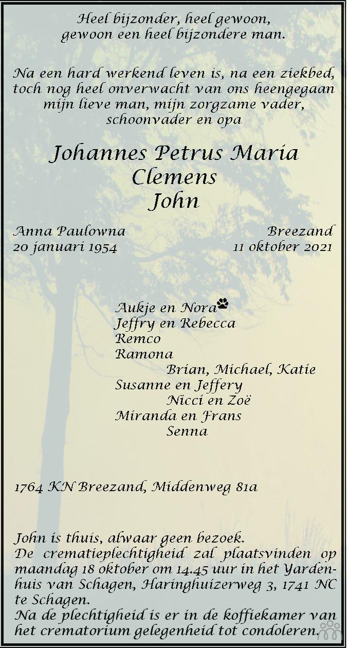 Overlijdensbericht van Johannes Petrus Maria (John) Clemens in Schagen / Den Helder