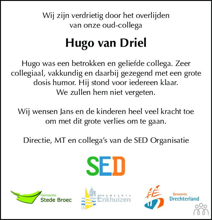 Overlijdensbericht van Hugo van Driel in Dagblad voor West-Friesland