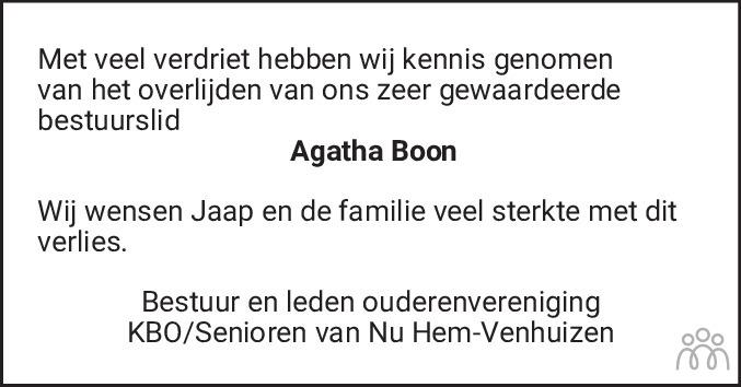 Overlijdensbericht van Agatha Boon-Oud in Dagblad voor West-Friesland